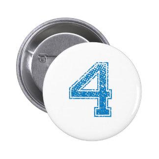 Blue Sports Jerzee Number 4 6 Cm Round Badge