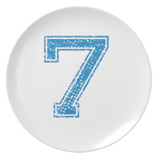 Blue Sports Jerzee Number 7 Dinner Plate