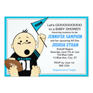 "Blue Sports Tailgate Baby Shower Invitations 5"" X 7"" Invitation Card"
