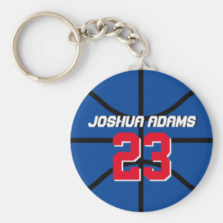 Blue Sports Team Athletes Basketball Keychain