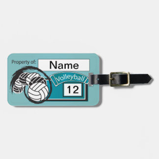 Blue Sporty Volleyball Luggage Tag