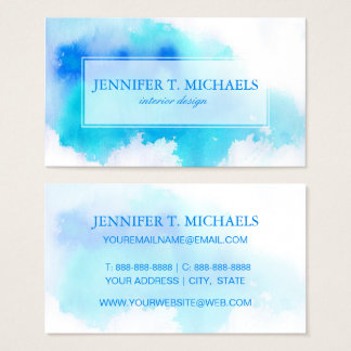 Blue spot, watercolor abstract hand painted business card