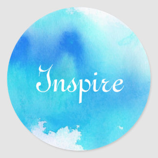 Blue spot, watercolor abstract hand painted classic round sticker
