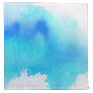 Blue spot, watercolor abstract hand painted napkin