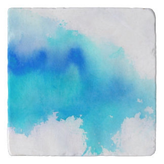 Blue spot, watercolor abstract hand painted trivet