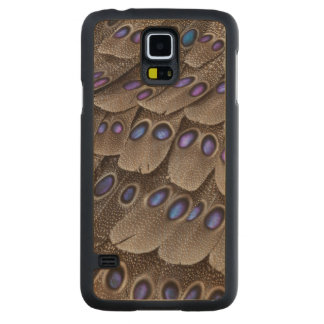Blue Spotted Pheasant Feather Carved Maple Galaxy S5 Case