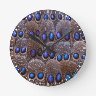 Blue spotted pheasant feather round clock