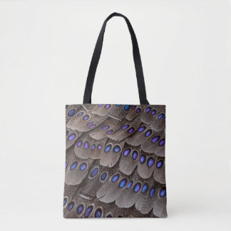 Blue Spotted Pheasant Feather Tote Bag