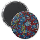 Blue Spotted Red Marbling Magnet