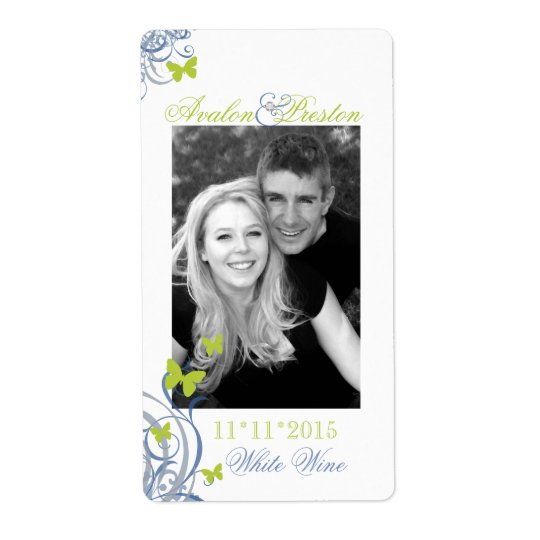 Blue Spring Butterfly Wedding Wine Label