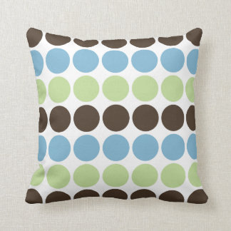 Blue, Spring Green, Brown Retro Circles Pattern Throw Cushion
