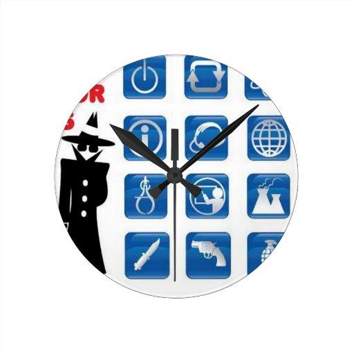 Blue spy icons wallclocks