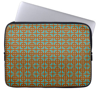 Blue Square Brown Pattern Laptop Sleeve