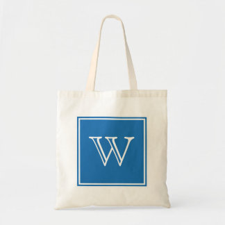 Blue Square Monogram Tote Bag