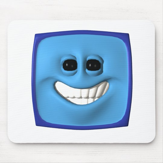 blue square smiley mouse pad