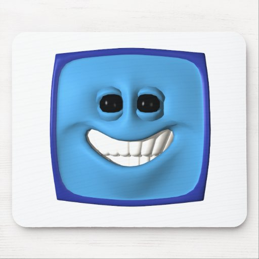 blue square smiley mousepad