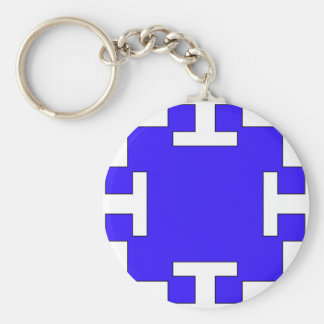 Blue  squares and squares basic round button key ring