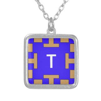 Blue  squares and squares square pendant necklace
