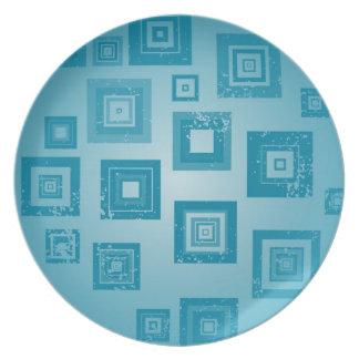 Blue Squares Design Plate