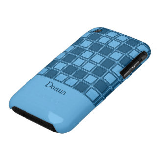 Blue squares mosaic pattern, add text iPhone 3 cover
