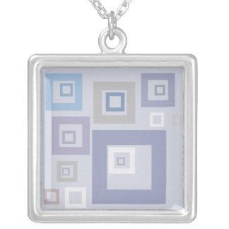 Blue Squares Square Pendant Necklace