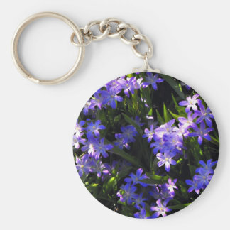 Blue Squill Spring Flowers Basic Round Button Key Ring