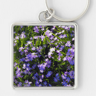 Blue Squill Spring Flowers Silver-Colored Square Key Ring