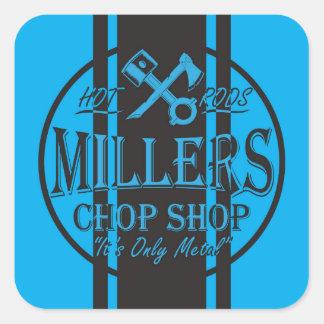 Blue SS Stripes Hot Rods Logo Stickers