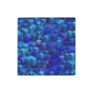 Blue stacked 3D cubes abstract geometric pattern Stone Magnet