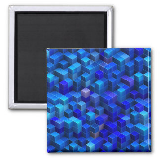 Blue stacked 3D cubes abstract geometric pattern Magnets