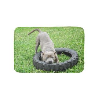 Blue Staffordshire Bull Terrier Memory Foam Mat. Bath Mat