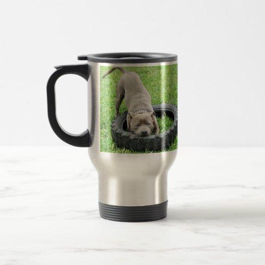Blue Staffordshire Bull Terrier Play Time, Travel Mug