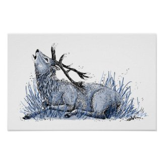 Blue Stag Poster
