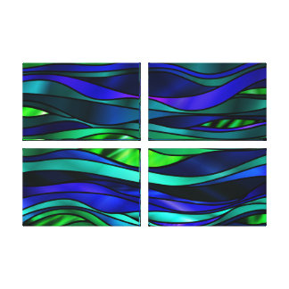 Blue Stained Glass Abstract Canvas Print