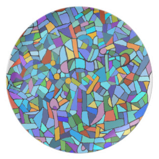 Blue Stained Glass Mosaic Design Plate