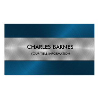 Blue Stainless Steel Business Card