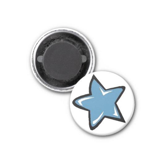 Blue Star 3 Cm Round Magnet
