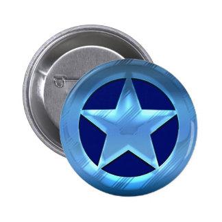 Blue Star 6 Cm Round Badge