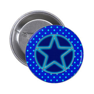 Blue Star and Dots 6 Cm Round Badge