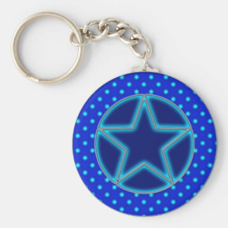 Blue Star and Dots Keychains