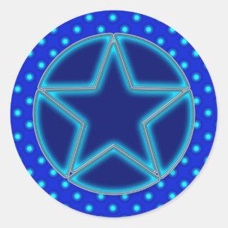 Blue Star and Dots Round Sticker