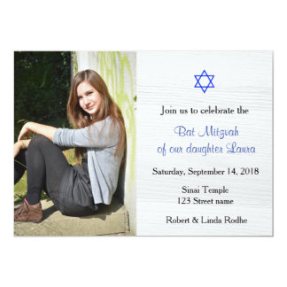 Blue Star and White Wood Bat Mitzvah Invitation