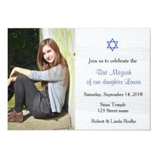 Blue Star and White Wood Bat Mitzvah Invitation