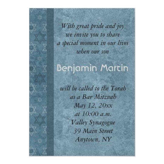 Blue Star Bar Mitzvah Invitation