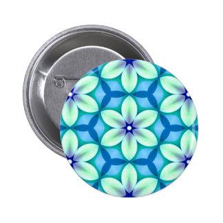 Blue Star Flower Green 6 Cm Round Badge