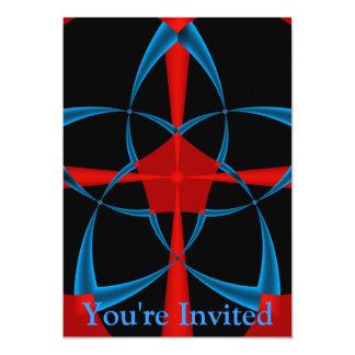Blue Star Fractal 13 Cm X 18 Cm Invitation Card