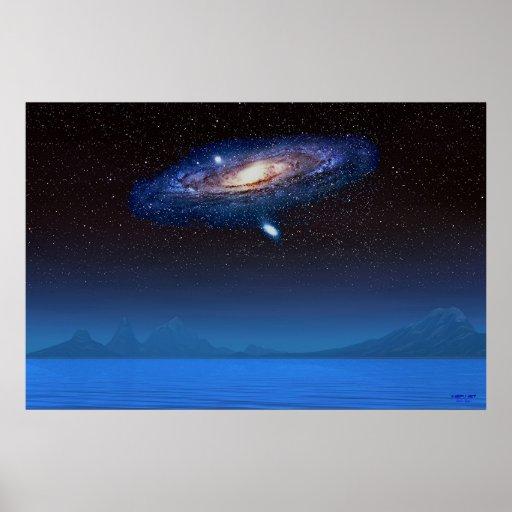 Blue Star Galaxy Poster