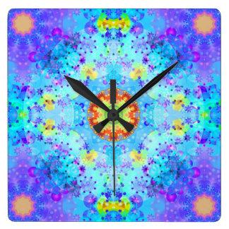 Blue Star Hippy Mandala Patterned Square Wall Clock
