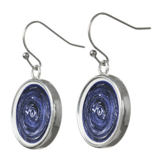 Blue Star In Silver Earrings