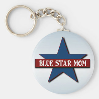 Blue Star Mom Military Family Support Basic Round Button Key Ring